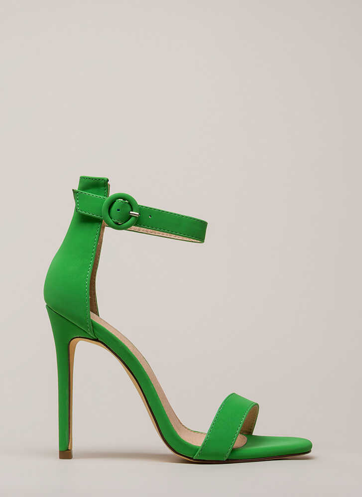 Chic Now Strappy Faux Nubuck Heels GREEN