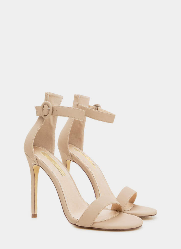 Chic Now Strappy Faux Nubuck Heels NUDE
