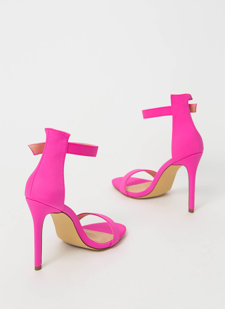 Chic Now Strappy Faux Nubuck Heels PINK