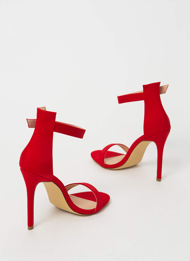 Chic Now Strappy Faux Nubuck Heels RED