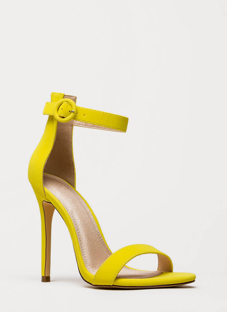Chic Now Strappy Faux Nubuck Heels YELLOW