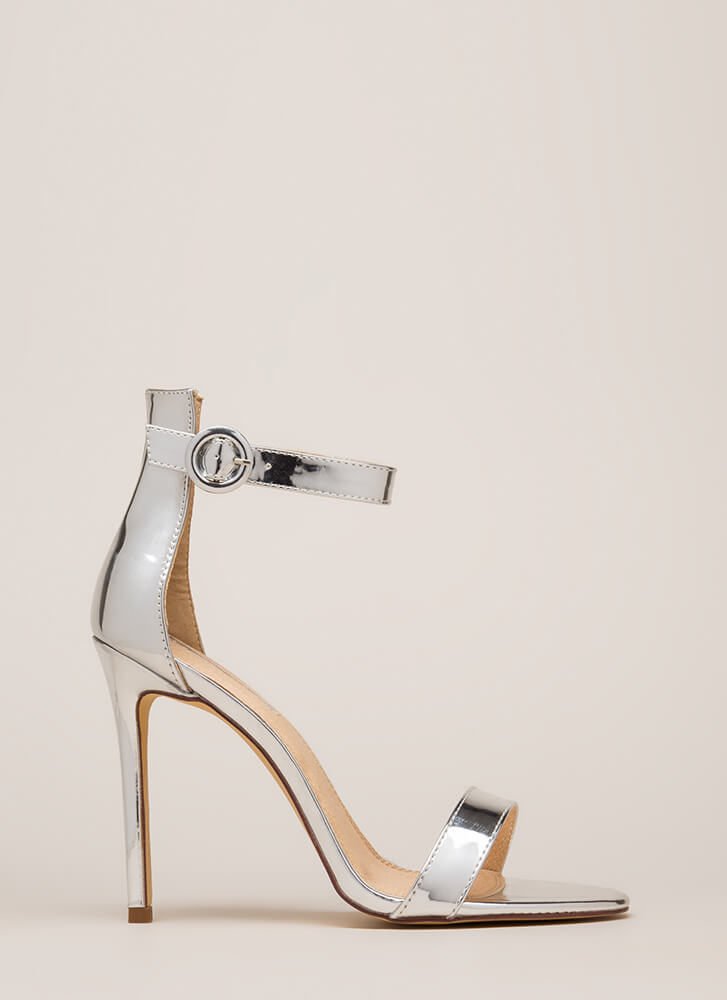 Chic Now Strappy Metallic Heels SILVER