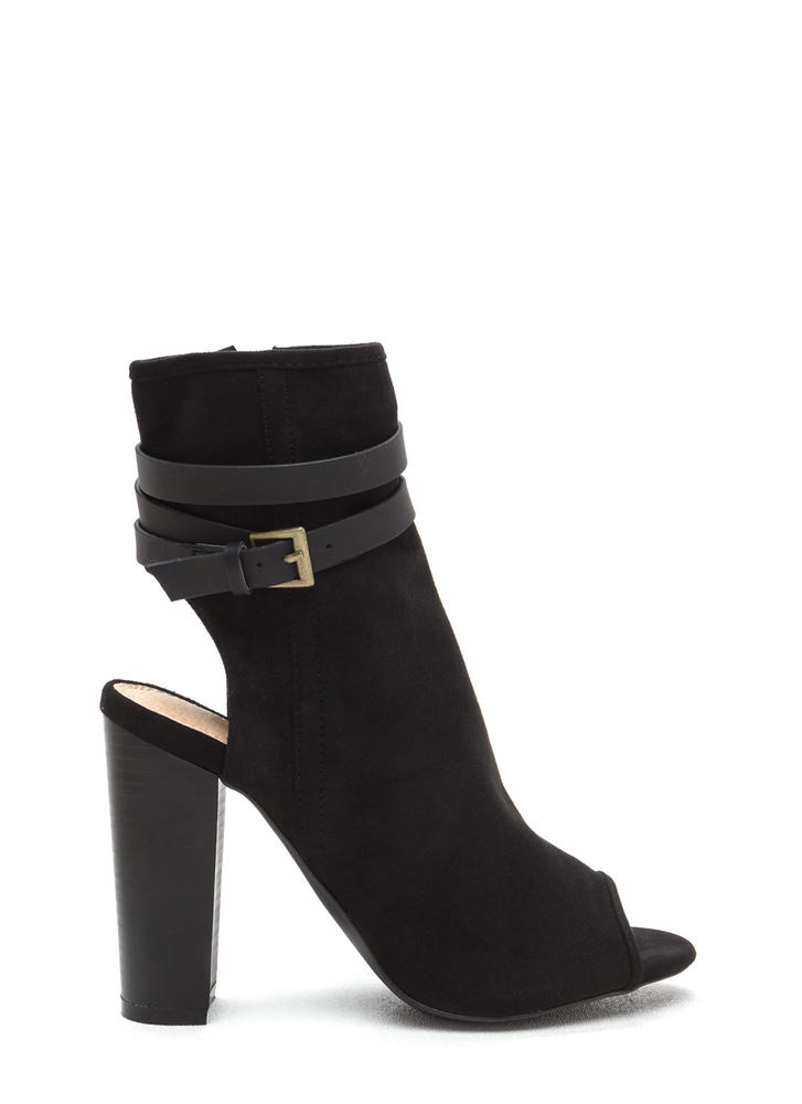 Let's Wrap Chunky Faux Suede Booties BLACK