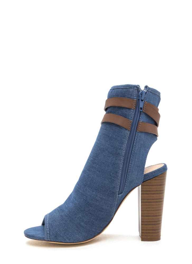 Let's Wrap Chunky Denim Booties DENIM