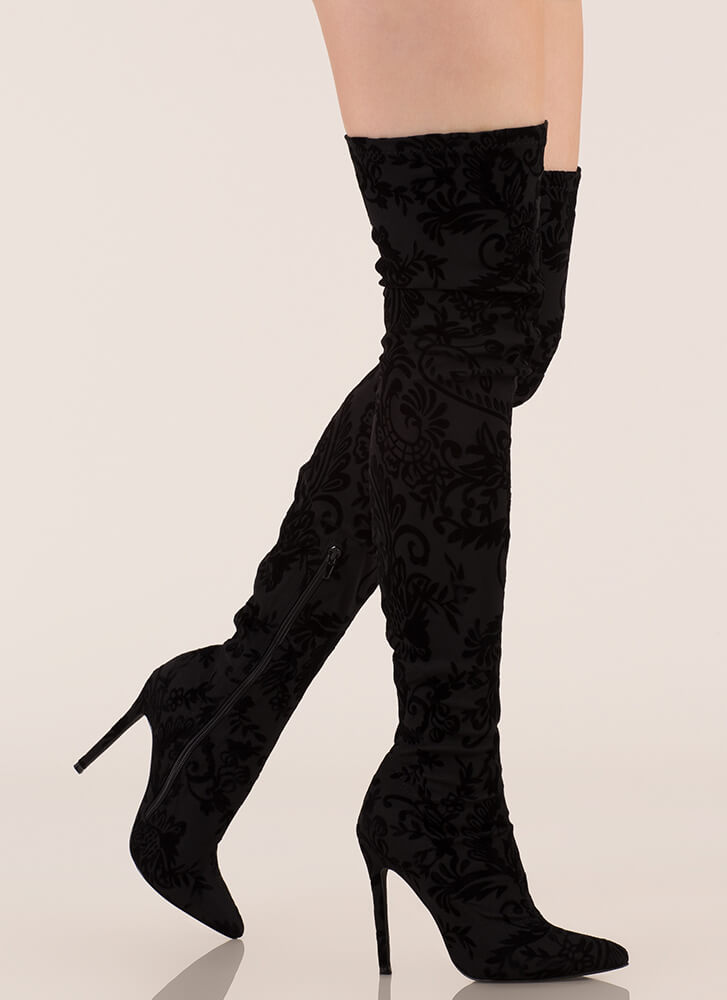 Floral Filigree Flocked Thigh-High Boots BLACK