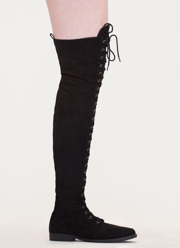 The Hunted Lace-Up Over-The-Knee Boots BLACK