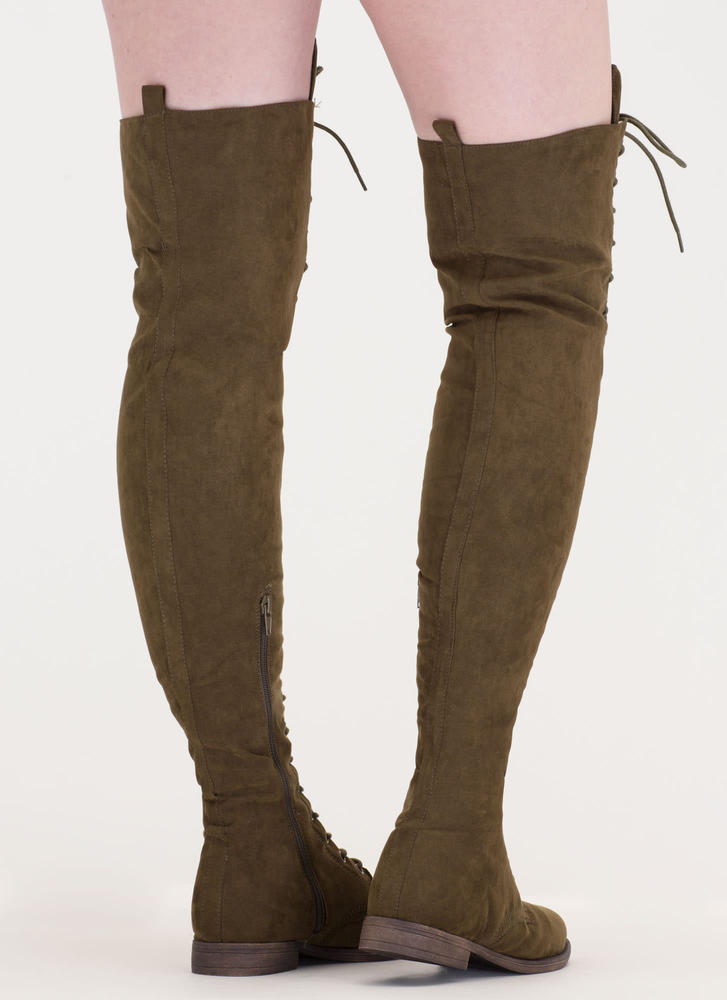 Over The Moon Lace-Up Thigh-High Boots OLIVE