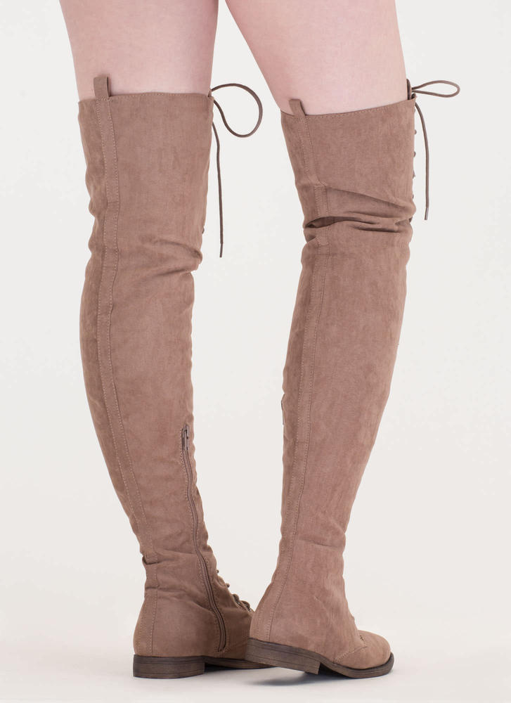 The Hunted Lace-Up Over-The-Knee Boots TAUPE
