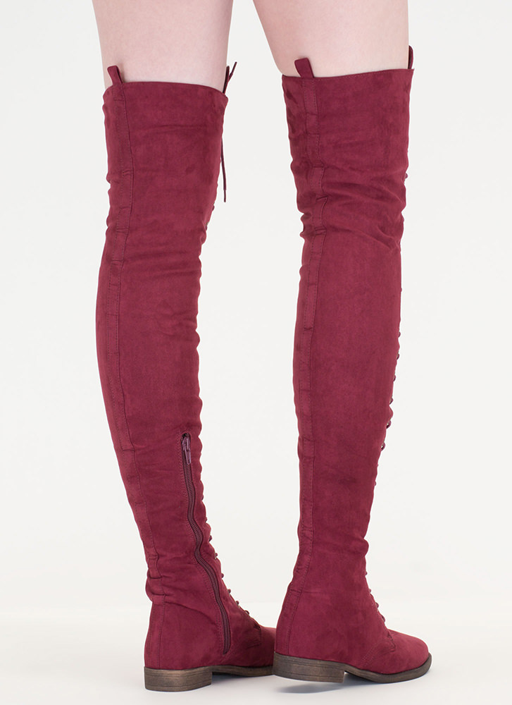 Over The Moon Lace-Up Thigh-High Boots WINE