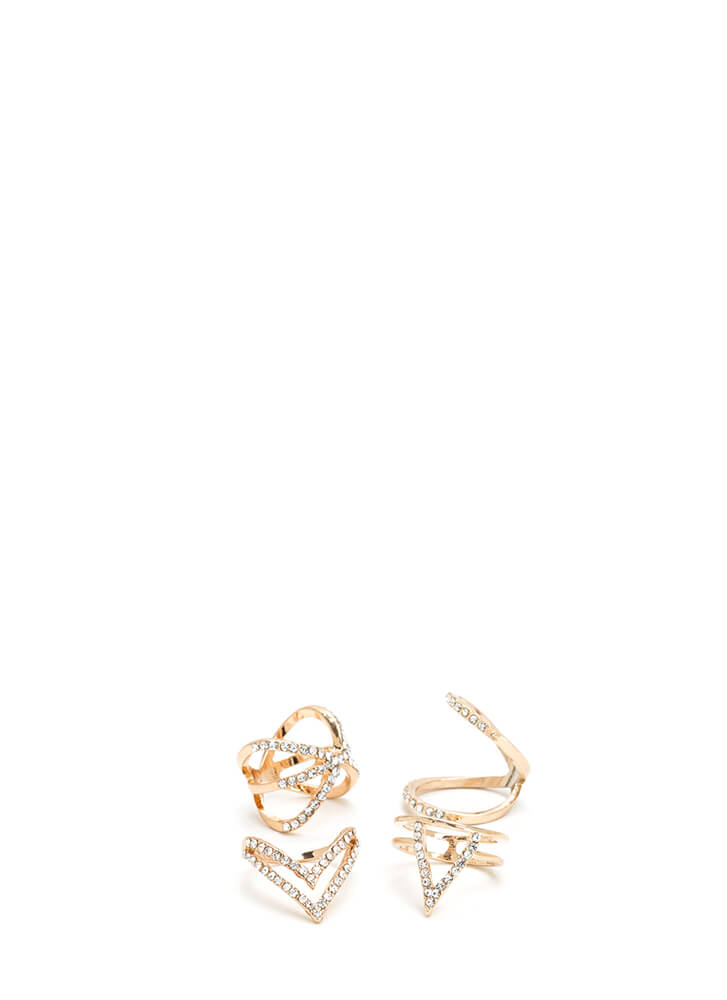 I'm So X-Cited Jeweled Cut-Out Ring Set GOLD (You Saved $9)