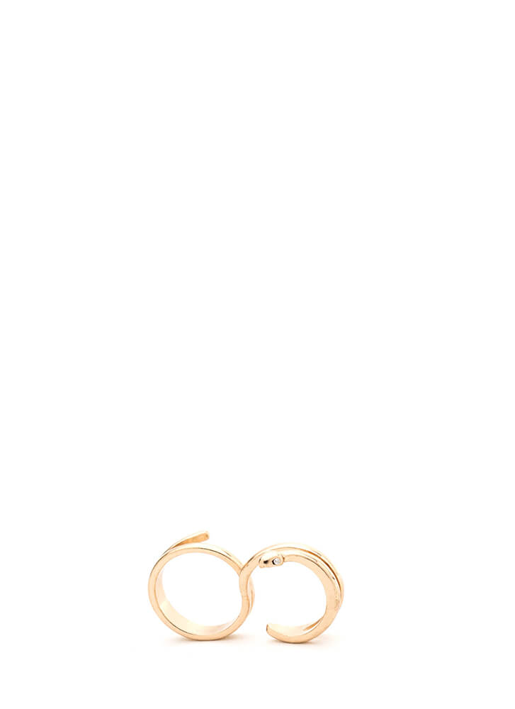 Snake Up On You Two-Finger Ring GOLD (Final Sale)