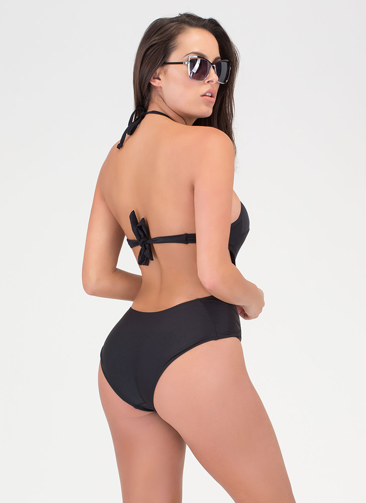 Boho Goddess Caged One-Piece Swimsuit BLACK (Final Sale)