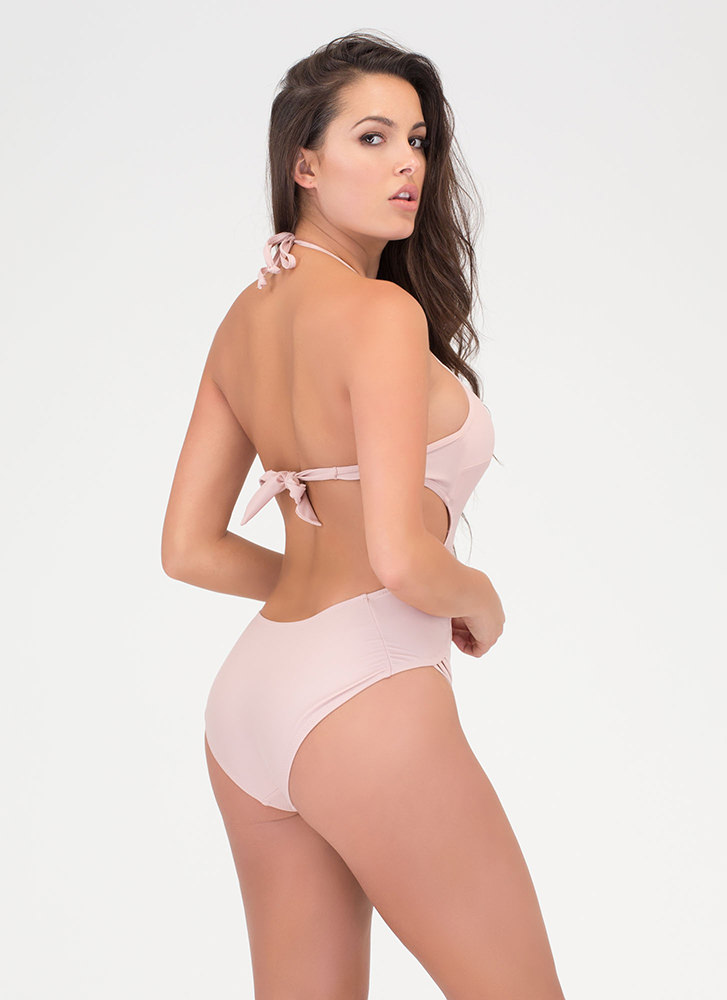 Boho Goddess Caged One-Piece Swimsuit DUSTYROSE (Final Sale)