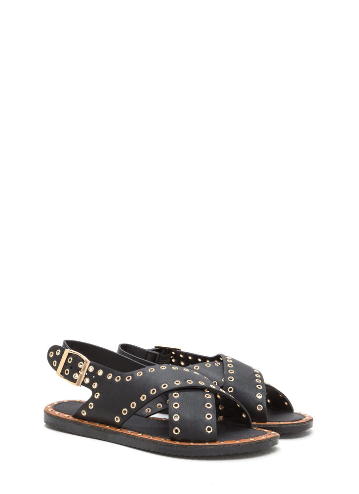 Hole In One Crisscrossed Sandals BLACK