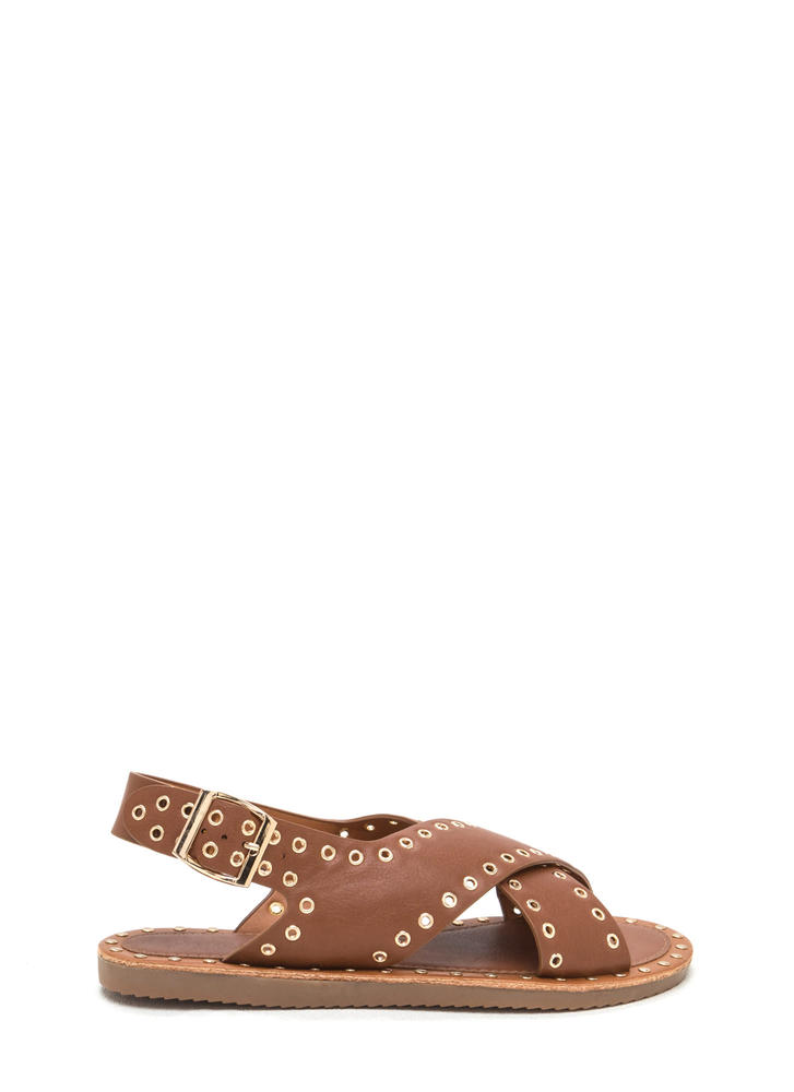 Hole In One Crisscrossed Sandals COGNAC (Final Sale)