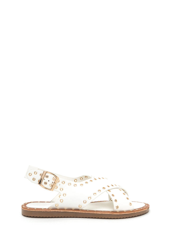Hole In One Crisscrossed Sandals WHITE (Final Sale)