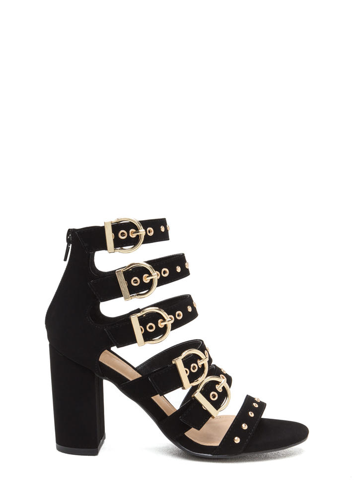Gimme Five Buckled Chunky Heels BLACK