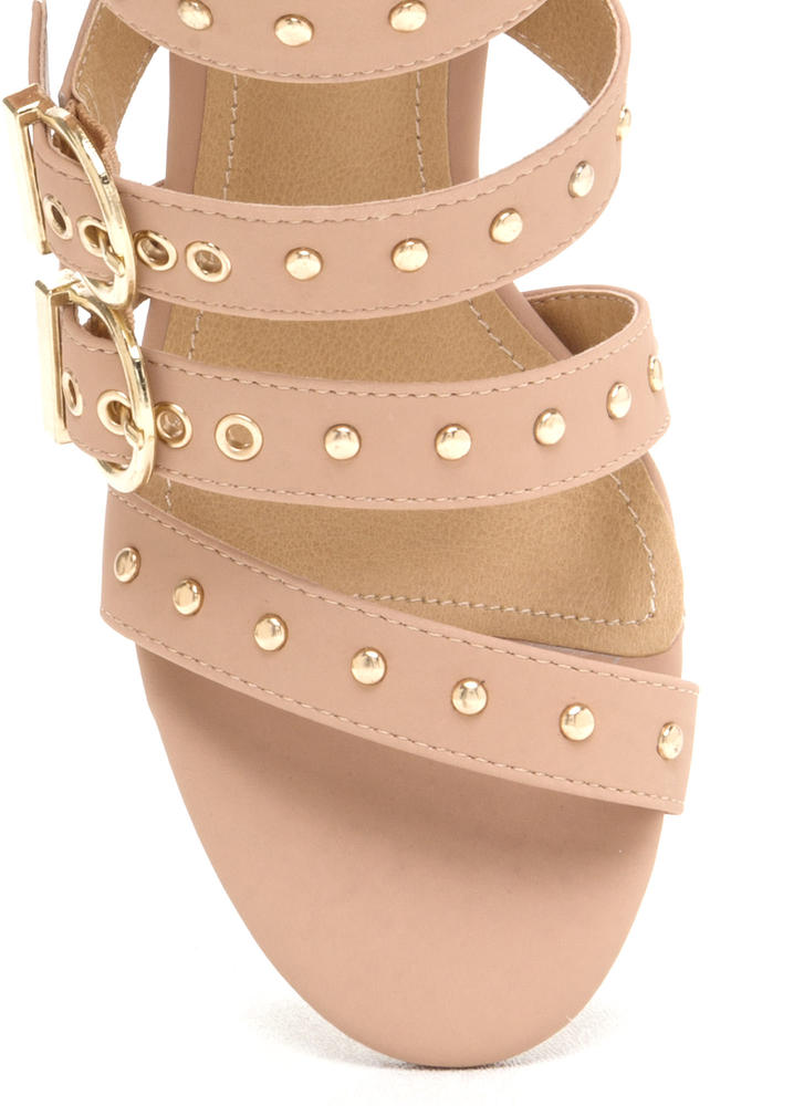Gimme Five Buckled Chunky Heels NUDE