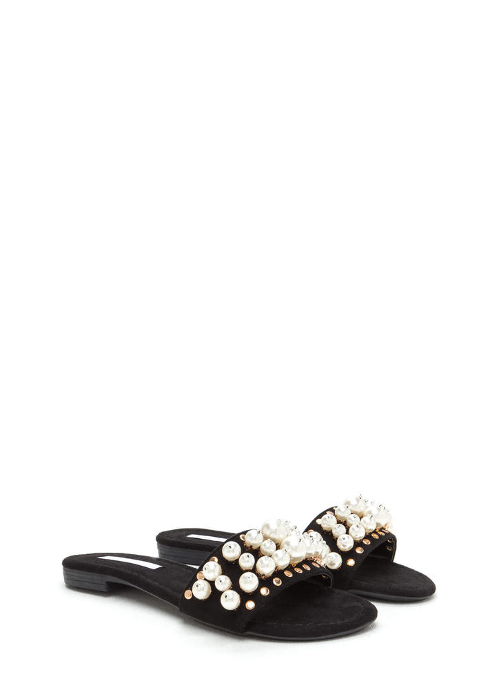 Pearly Girl Studded Faux Suede Slippers BLACK