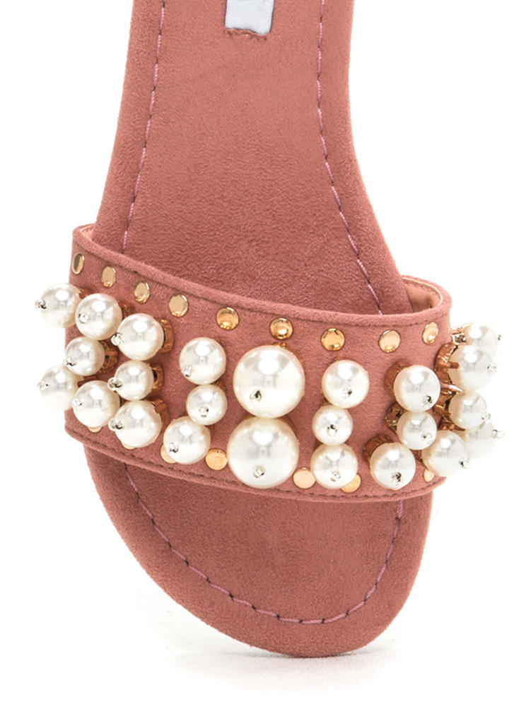 Pearly Girl Studded Faux Suede Slippers DUSTYPINK (Final Sale)