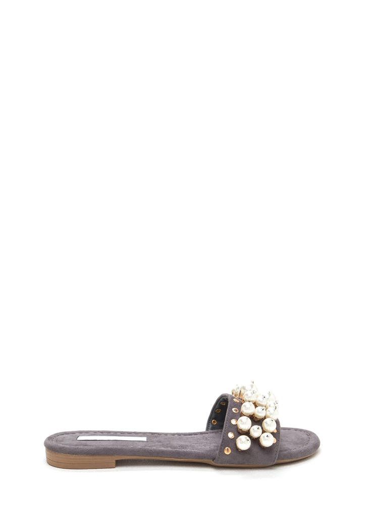 Pearly Girl Studded Faux Suede Slippers GREY
