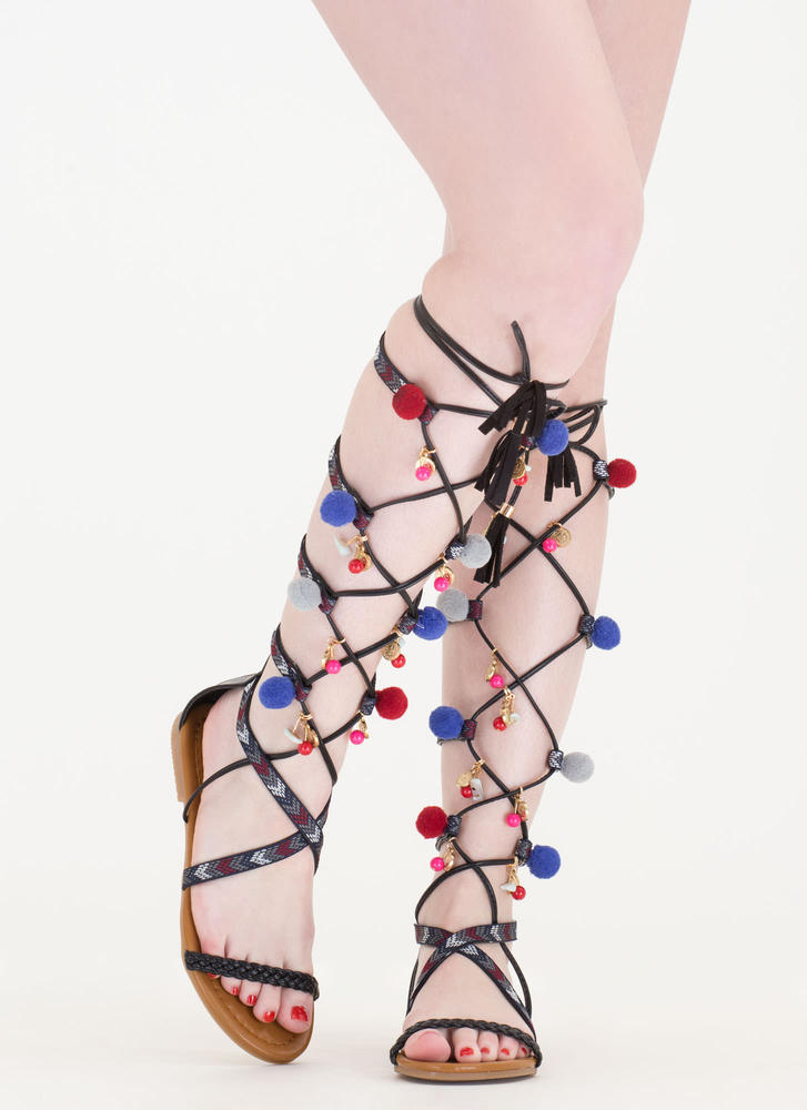 79f9de56a2a ... Charm School Pom-Pom Gladiator Sandals BLACK (Final Sale)