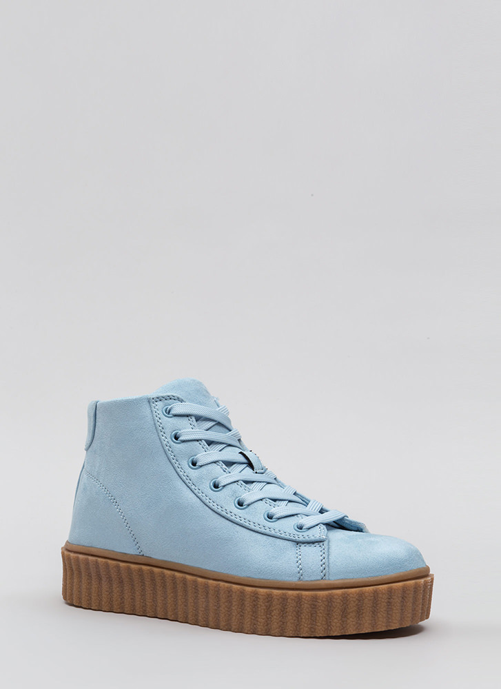 Dramatic Rise High-Top Creeper Sneakers BABYBLUE