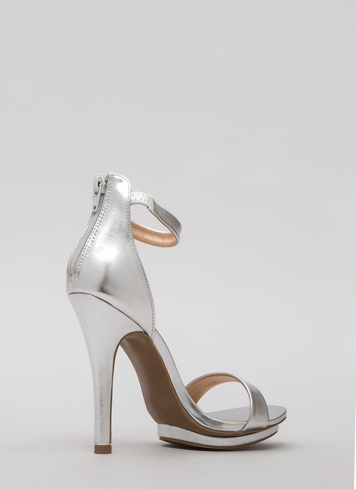 Living Single Metallic Platform Heels SILVER