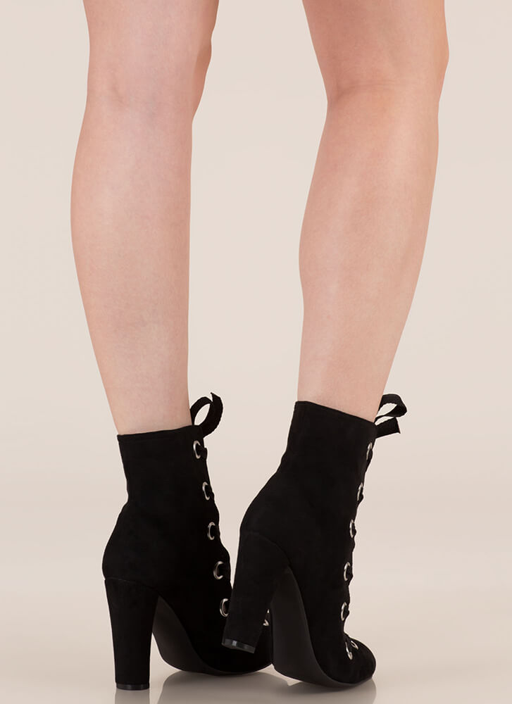 Grommet Girl Chunky Lace-Up Booties BLACK