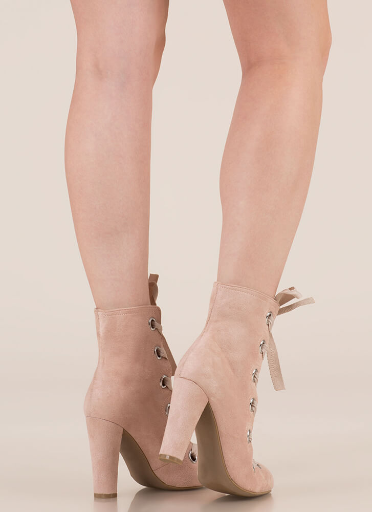 Grommet Girl Chunky Lace-Up Booties NUDE