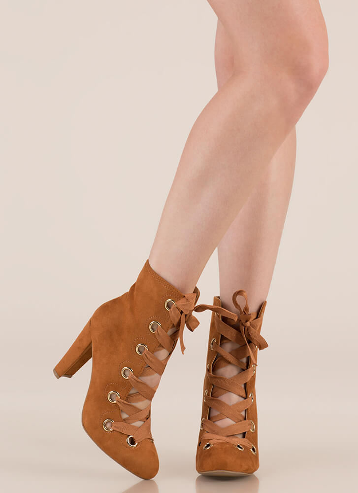 Grommet Girl Chunky Lace-Up Booties WHISKY