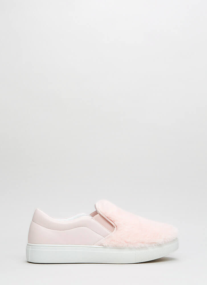 Fave Fur-ever Slip-On Faux Leather Sneakers BABYPINK