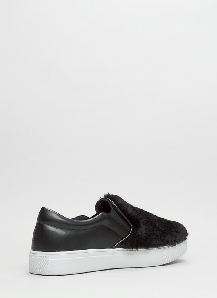 Fave Fur-ever Slip-On Faux Leather Sneakers BLACK