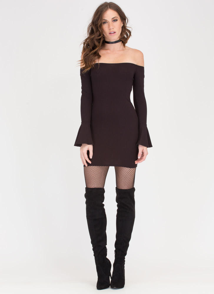 Bell Of The Ball Off-Shoulder Dress BLACK