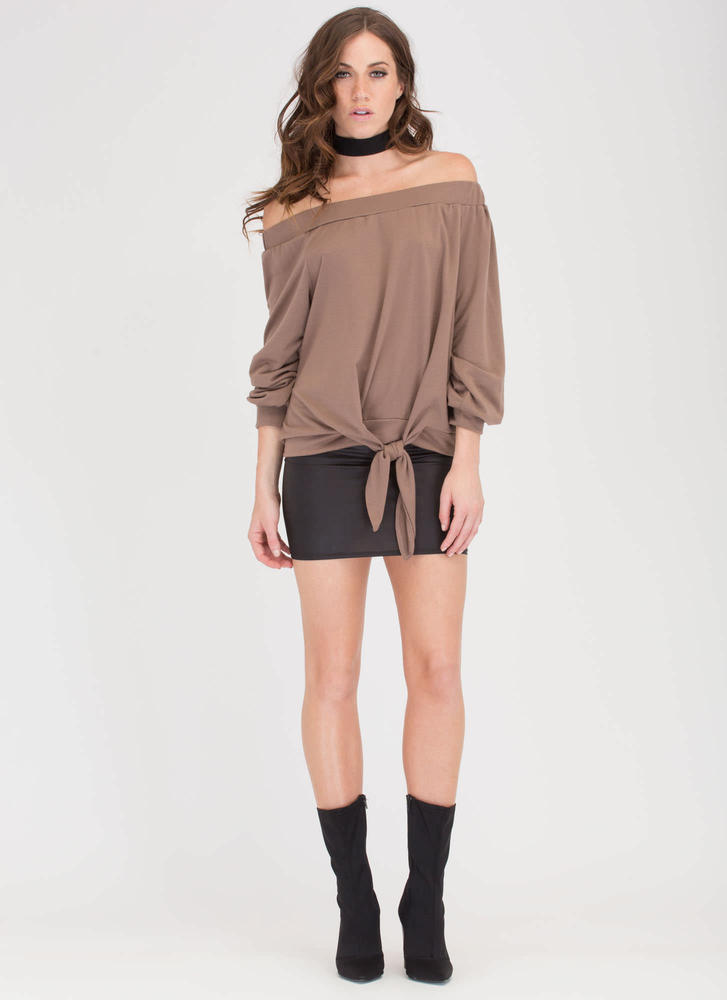 Sun Kissed Off-Shoulder Knotted Top MOCHA
