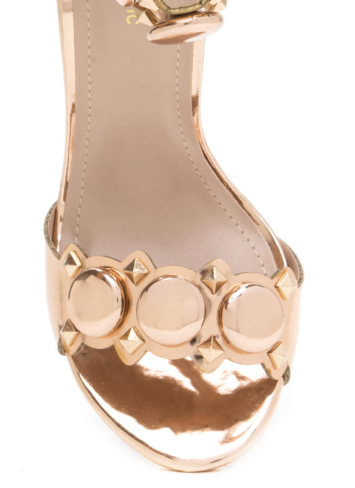 Circle The Stud Faux Patent Heels ROSEGOLD