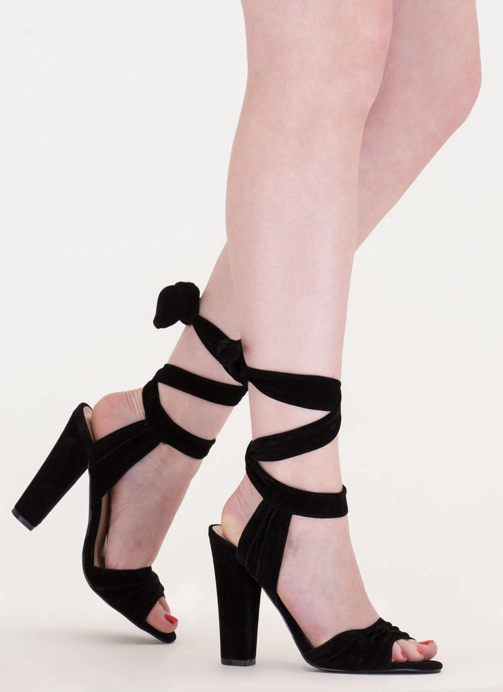 Lace-Up Lady Pleated Velvet Chunky Heels BLACK
