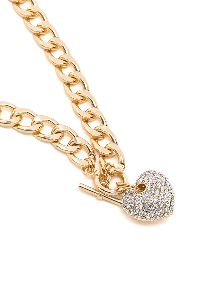 Change Of Heart Sparkly Chain Necklace GOLD