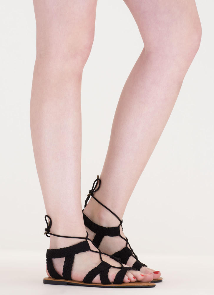 Woven Together Strappy Lace-Up Sandals BLACK (Final Sale)