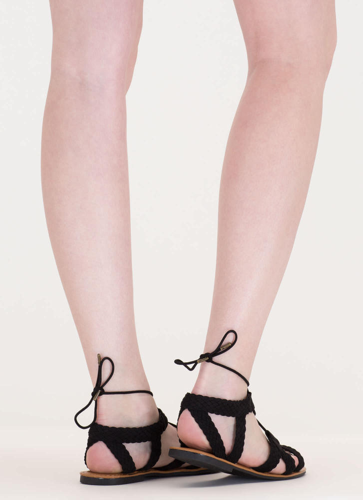 Woven Together Strappy Lace-Up Sandals BLACK