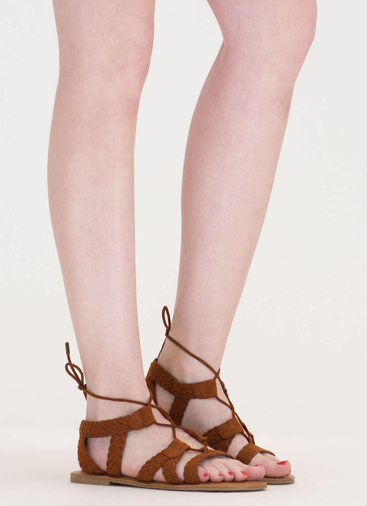 Woven Together Strappy Lace-Up Sandals CHESTNUT
