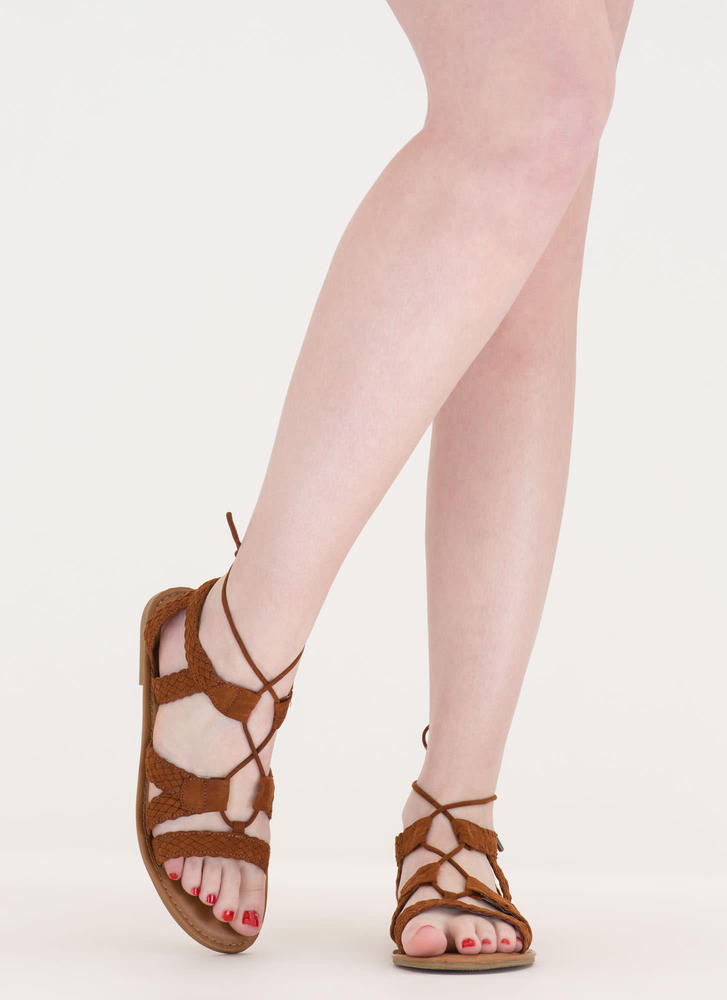 Woven Together Strappy Lace-Up Sandals CHESTNUT (Final Sale)
