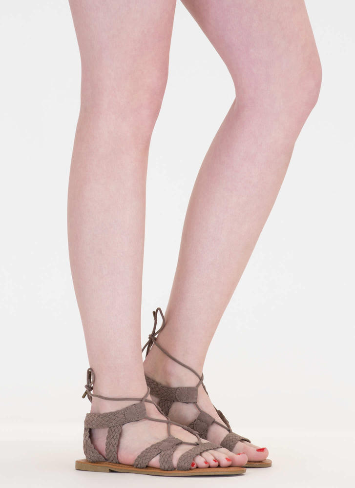 Woven Together Strappy Lace-Up Sandals TAUPE (Final Sale)