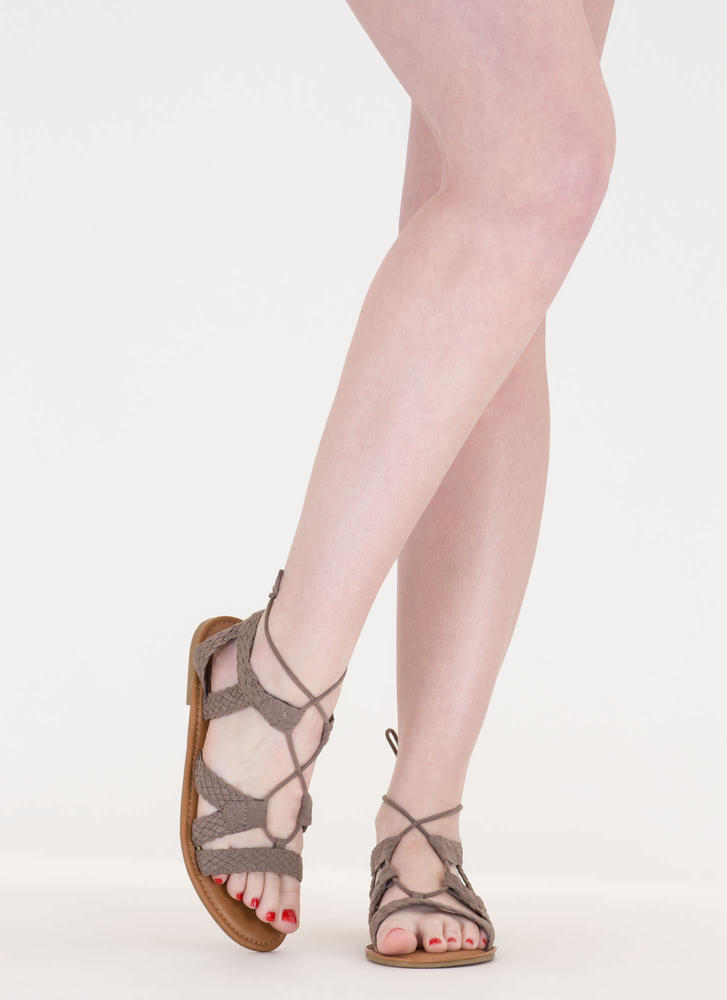 Woven Together Strappy Lace-Up Sandals TAUPE