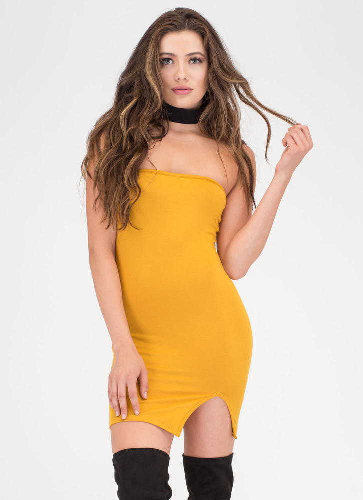 Ladies Night Out Strapless Minidress MUSTARD