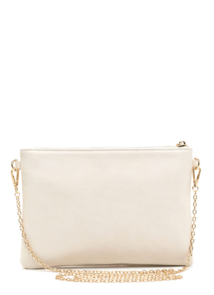 Vintage Vibes Floral Faux Leather Clutch BEIGE (You Saved $26)