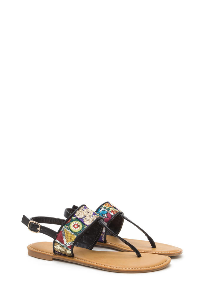Bali Beach Embroidered T-Strap Sandals BLACK (Final Sale)