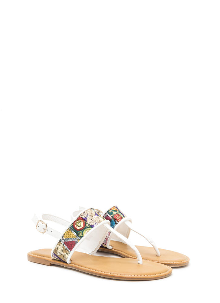 Bali Beach Embroidered T-Strap Sandals WHITE