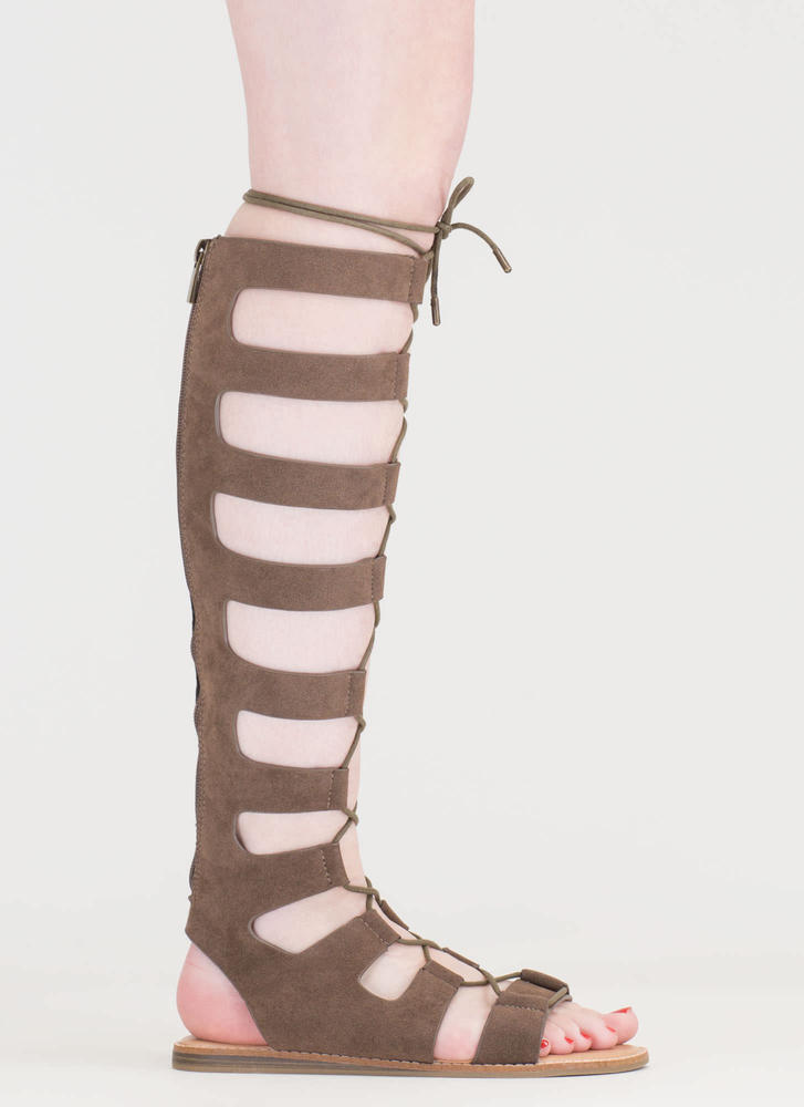 Fight Ready Lace-Up Gladiator Sandals TAUPE