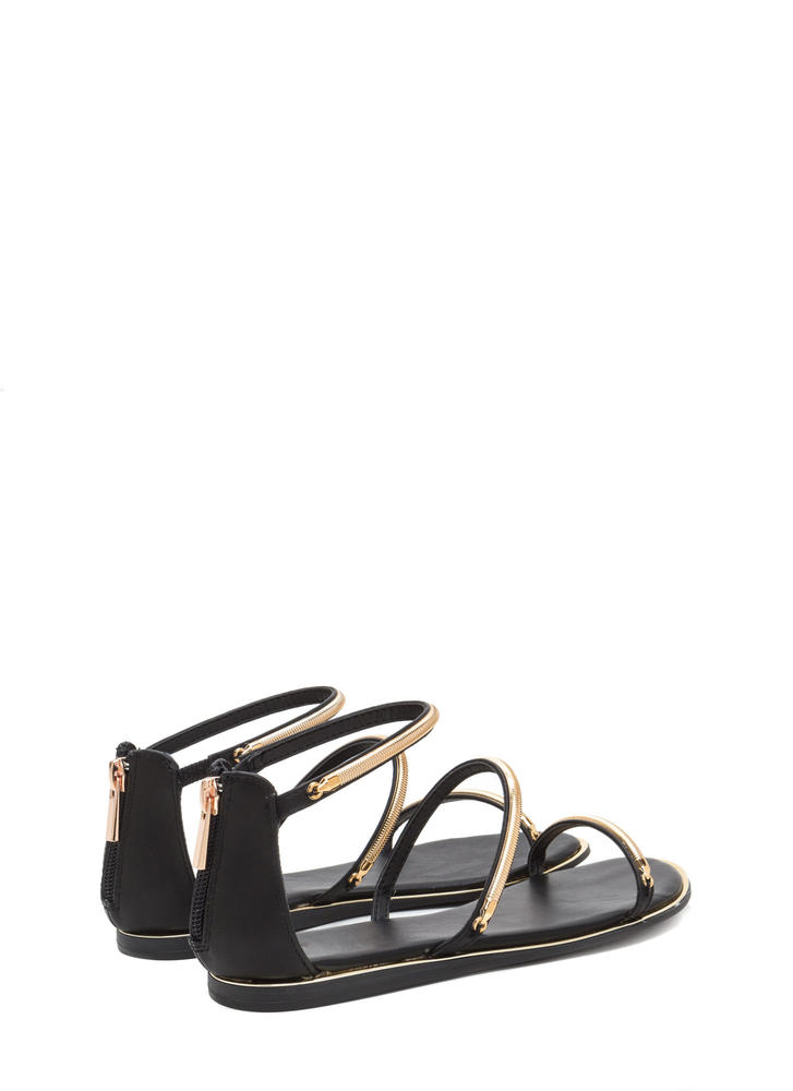 Line By Me Faux Leather Chain Sandals BLACK